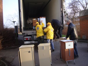 Danish Lions upload Medical Equipment into the truck.